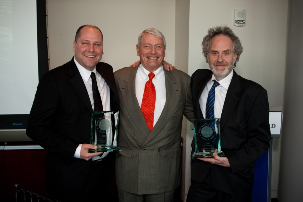 Brian Storm and Seamus Murphy accept Liberty Media Award